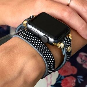 Apple iWatch Leather Band Gold Polka Wrap Strap